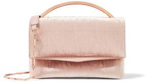 Eddie Borgo - Boyd Vanity Leather-trimmed Velvet Shoulder Bag - Baby pink