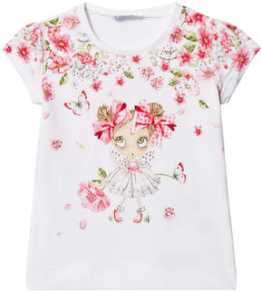 Mayoral White Floral Girl and Diamante Print Tee
