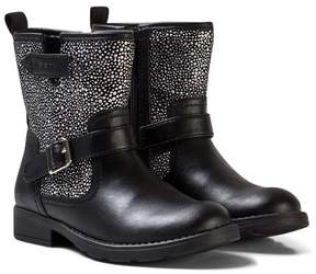 Geox Black Jr Sofia Leather and Studded Boots