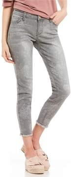 Celebrity Pink Floral-Printed Frayed-Hem Jeans