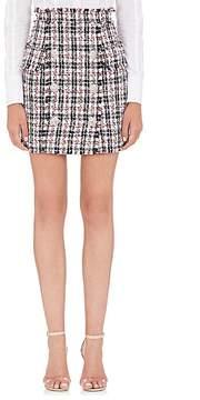 Balmain Women's Tweed Double-Breasted Miniskirt