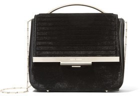 Eddie Borgo Colt Tech Leather-Trimmed Velvet Shoulder Bag