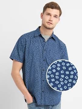Gap Standard Fit Print Short Sleeve Shirt in Denim