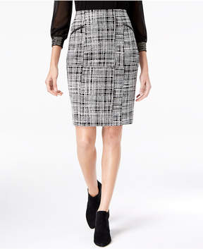 Alfani Jacquard Zipper Pencil Skirt, Created for Macy's
