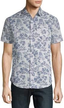 Report Collection Men's Tropical Cotton Button-Down Shirt