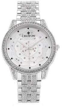 Croton Ladies Flower Mother of Pearl Dial Watch with Crystals