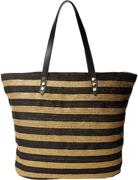 San Diego Hat Company - BSB1558 Braid Gold Stripe Tote Bag with Interior Sippered Pocket Tote Handbags