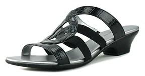 Karen Scott Emmeer Open Toe Patent Leather Slides Sandal.