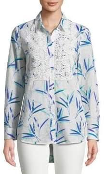 Isaac Mizrahi IMNYC Dot Texture Button-Down Shirt with Lace