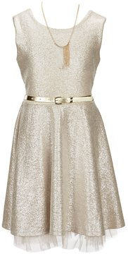 I.N. Girl Big Girls 7-16 Belted Fit-and-Flare Dress