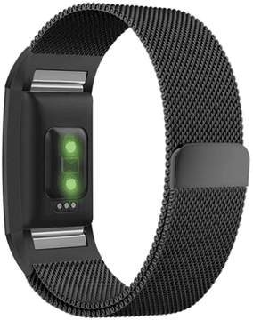 Fitbit Greatfine Charge 2 Strap Large, with Unique Magnet Lock Milanese Loop Stainless Steel Bracelet Strap Band for Charge 2 (Black)