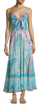 Camilla Long Silk Dress With Tie Front
