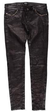 RtA Denim Mid-Rise Skinny Leather Pants