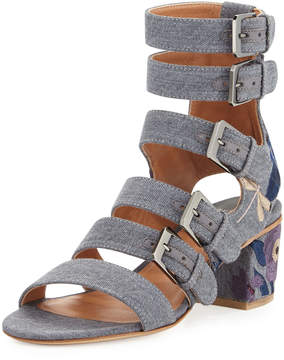 Laurence Dacade Nora Embroidered Buckle-Strap Sandals, Stone/Blue