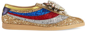Gucci Falacer 系列 glitter sneaker with Web
