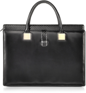 Linda Farrow Anniversary Black Ayers and Leather Tote