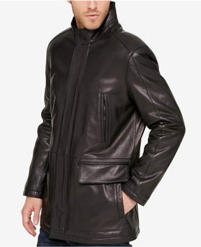 Cole Haan Men's Leather Knit-Collar Car Coat