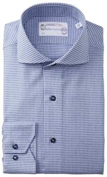 Lorenzo Uomo Textured Houndstooth Trim Fit Dress Shirt