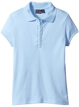 Nautica Girls Plus Short Sleeve Polo with Ruffle Placket Girl's Short Sleeve Pullover