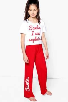 boohoo Girls Santa I Can Explain T-Shirt & Bottom Set