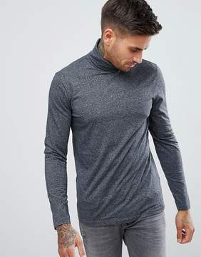 New Look Long Sleeve Top With Roll Neck In Gray Pattern