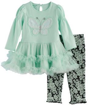 Nannette Baby Girl Butterfly Applique Tunic & Leggings Set