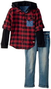 Hudson Three-Piece Woven Flannel Plaid w/ Mock Thermal and Stretch Denim Pants Boy's Active Sets