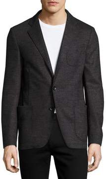 Armani Collezioni Glen Plaid Virgin Wool Soft Blazer, Charcoal