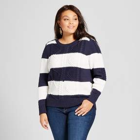 Ava & Viv Women's Plus Size Cable Pullover with Button Detail Navy Stripe