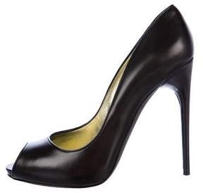 Tom Ford Leather Peep-Toe Pumps
