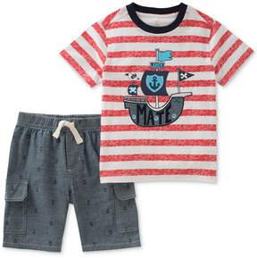Kids Headquarters 2-Pc. Striped Cotton T-Shirt & Shorts Set, Little Boys