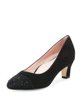 Taryn Rose Trulie Crystal Suede Low-Heel Pump, Black