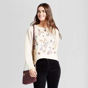 Cliche Women's Embroidered Floral Pullover Sweater Cream