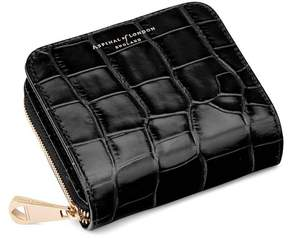 Aspinal of London Mini Continental Zipped Coin Purse In Deep Shine Black Croc