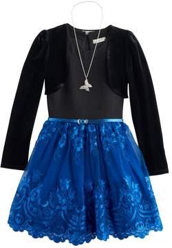 Knitworks Girls 7-16 Velvet Shrug & Embroidered Lace Skirt Dress Set with Necklace