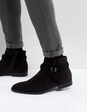 Asos Chelsea Boots In Black Faux Suede With Strap Detail
