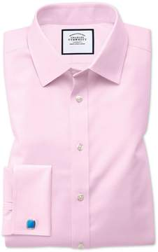 Charles Tyrwhitt Slim Fit Non-Iron Twill Pink Cotton Dress Shirt French Cuff Size 15/33