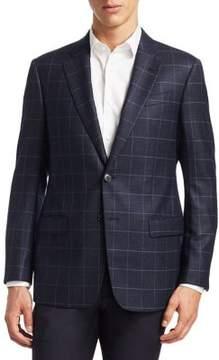 Armani Collezioni Slim-Fit Windowpane Wool Blazer