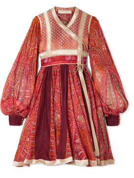 Etro Paneled Cotton And Silk-blend Jacquard And Printed Chiffon Wrap Dress - Red