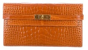 Hermes Shiny Alligator Kelly Longue Wallet - ORANGE - STYLE