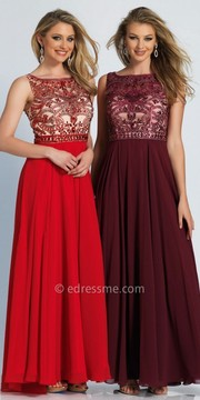 Dave and Johnny Swirl Beaded Enchanting A-line Evening Gown