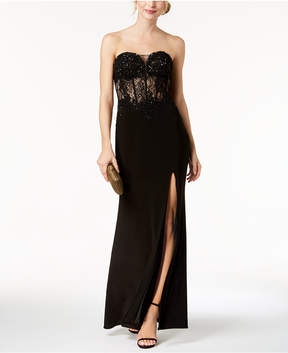 Betsy & Adam Embroidered Lace Bustier Gown