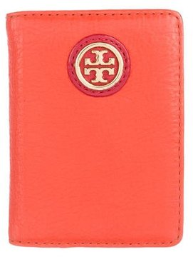 Tory Burch Pebbled Leather Card Holder - ORANGE - STYLE