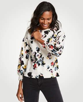 Ann Taylor Floral Lantern Sleeve Sweatshirt