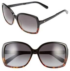 Women's Kate Spade New York 'Darrilyn' 58Mm Butterfly Sunglasses - Black/ Tortoise Fade