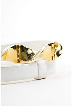Judith Leiber Pre-owned Vintage Cream Gold Tone Leather Swirl Buckle Belt.