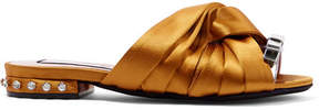 No.21 No. 21 - Metallic Leather-trimmed Crystal-embellished Satin Slides - Mustard
