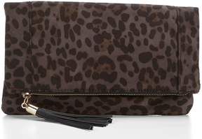 Sole Society Tasia Tasseled Leopard Foldover Clutch