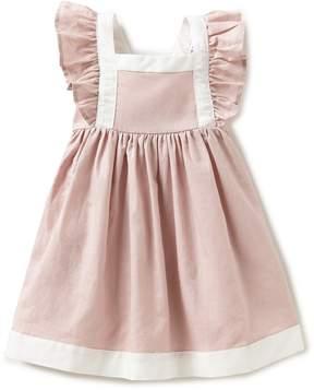 Edgehill Collection Little Girls 2T-4T Linen Flutter-Sleeve Dress