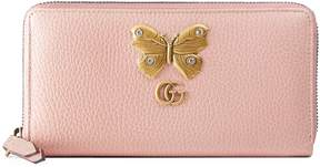Gucci Leather zip around wallet with butterfly - LIGHT PINK LEATHER - STYLE